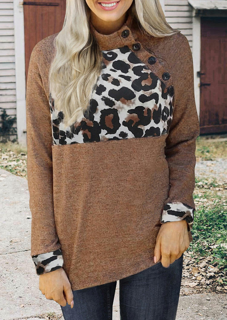 Leopard Splicing Button Blouse - Brown