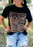 Leopard Sequined Splicing T-Shirt