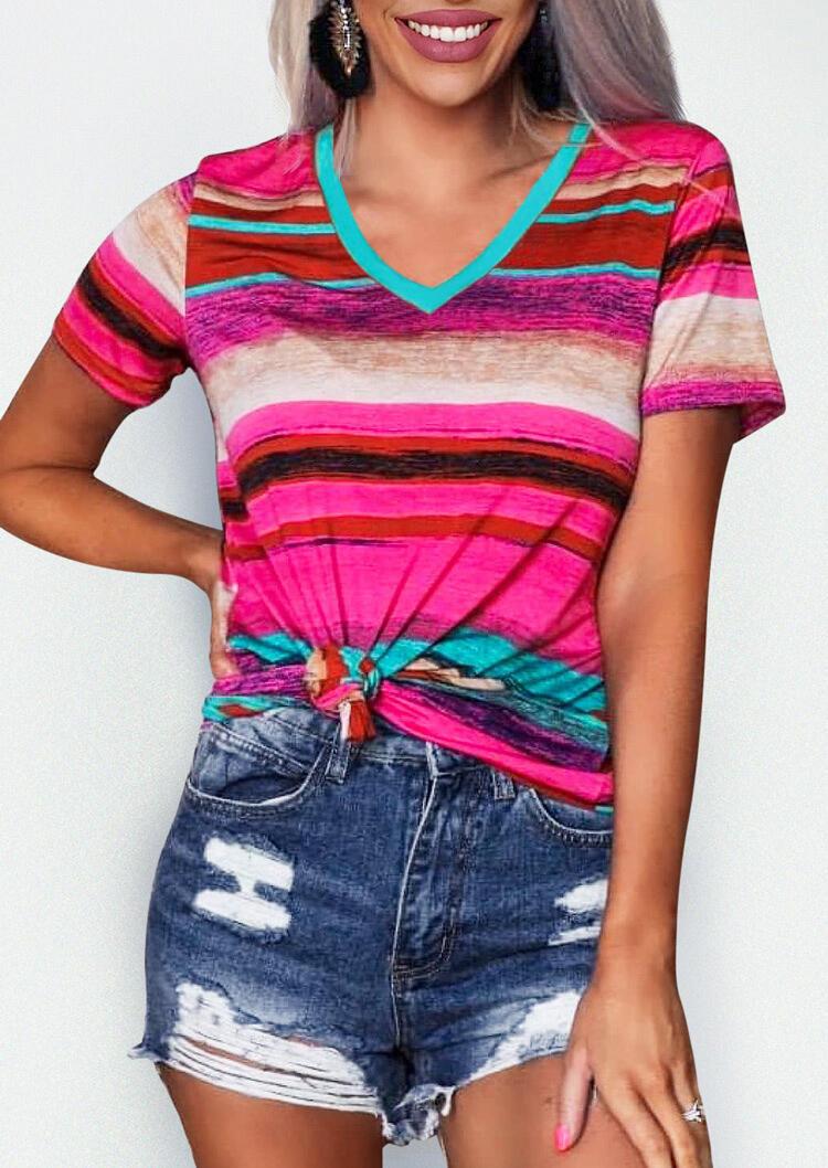 Colorful Serape Striped V-Neck T-Shirt Tee фото