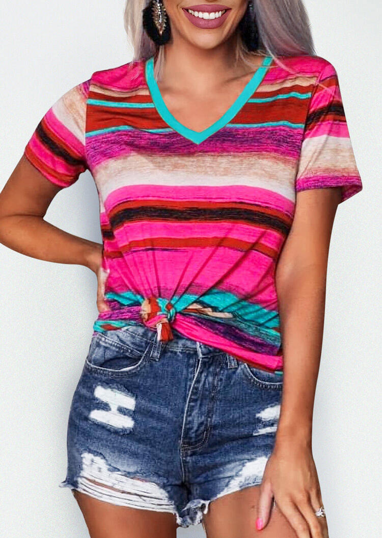 Tees T-shirts Colorful Serape Striped V-Neck T-Shirt Tee in Multicolor. Size: S,M,L,XL фото