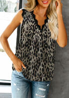 Leopard Lace Splicing V-Neck Tank