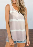 Striped Button Color Block Tank