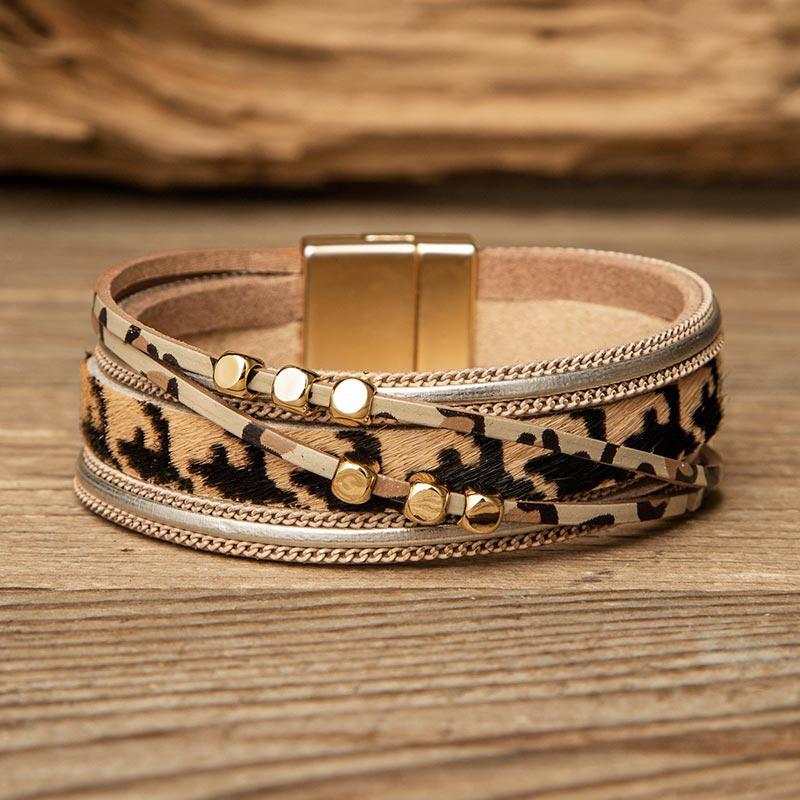 Leopard Bead Multi-Layered PU Leather Braelet фото