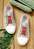Colorful Striped Splicing Slip On Flat Sneakers