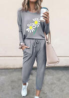 Daisy Long Sleeve T-Shirt And Drawstring Pocket Pants