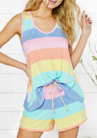 Striped Color Block Splicing Tank And Drawstring Shorts Two-Piece Set