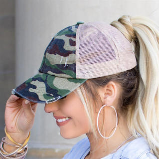 Camouflage Mesh Criss-Cross Hollow Out Baseball Cap