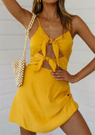 Hollow Out Tie Mini Dress