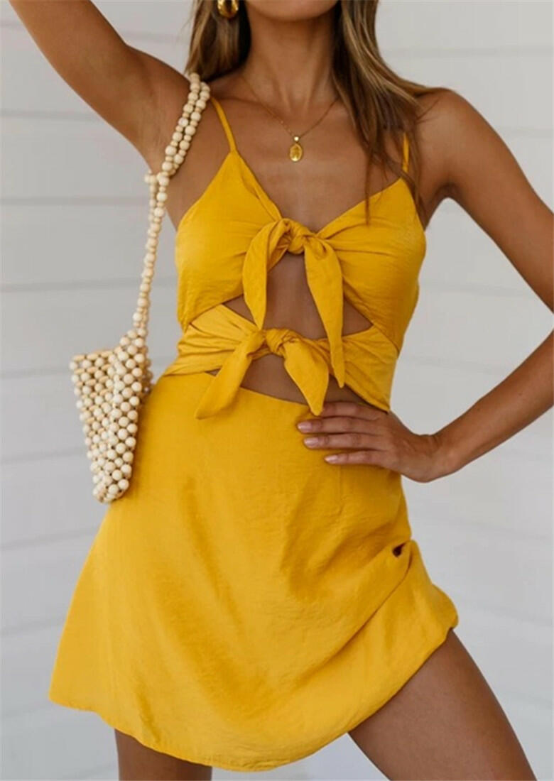 Mini Dresses Hollow Out Tie Mini Dress without Necklace in Yellow. Size: S,M,L,XL фото