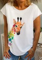 Giraffe O-Neck T-Shirt Tee