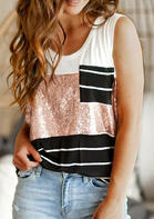 Sequined Striped Splicing Pocket Tank