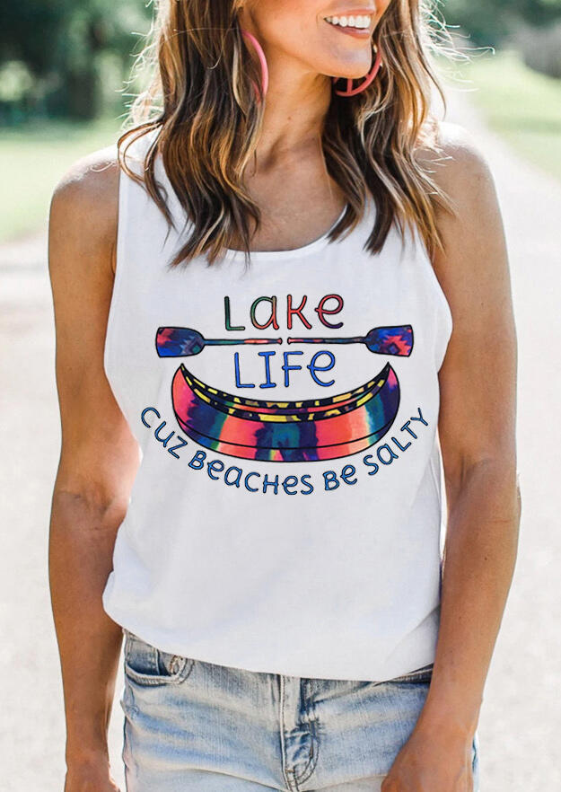 Tank Tops Lake Life Cuz Beaches Be Salty Tank in White. Size: S фото