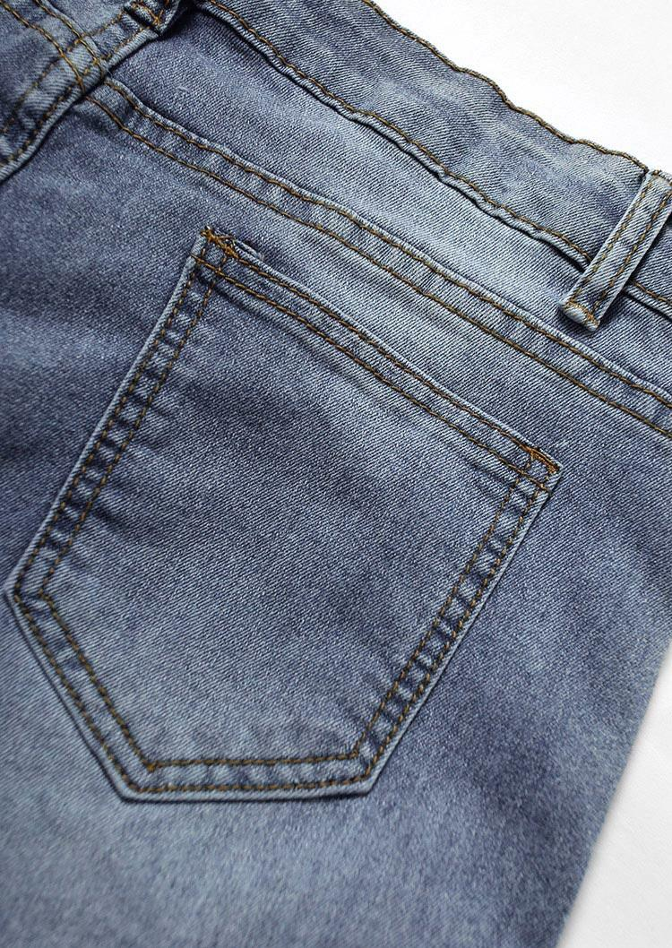Hollow Out Chain Splicing Pocket Zipper Jeans