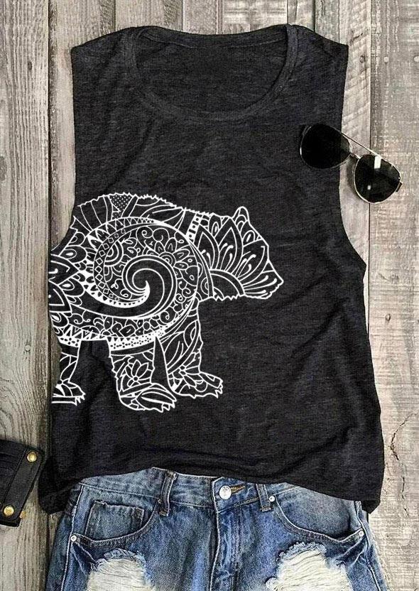 Mandala Bear Tank - Dark Grey фото