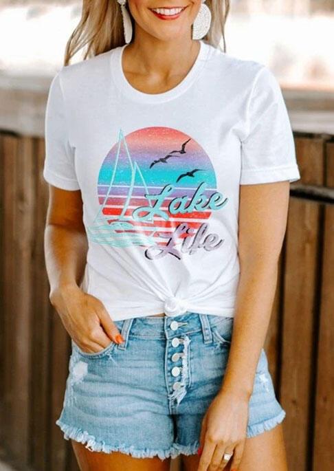 Lake Life Sunset Sailboat T-Shirt Tee - White фото
