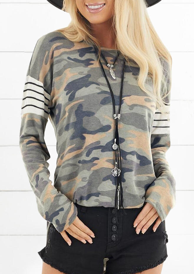 Camouflage Striped Splicing Blouse