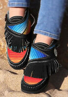 Colorful Striped Fringe Flat Boots