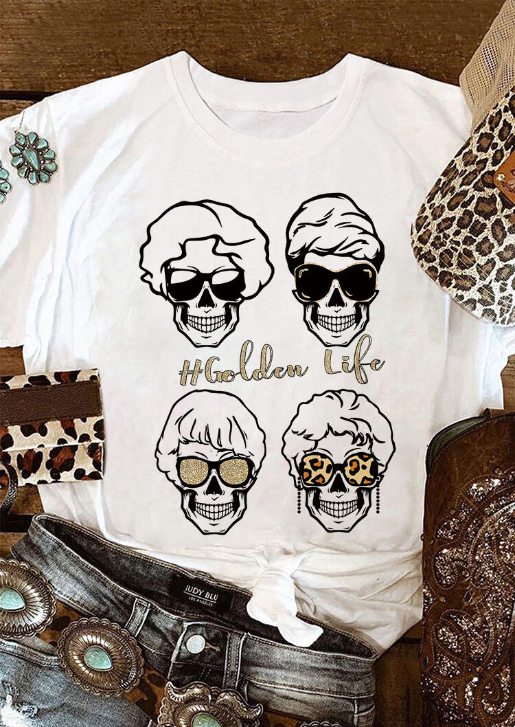 Tees T-shirts Golden Life Leopard Skull Sunglasses T-Shirt Tee in White. Size: S,M,L,XL фото