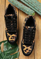 Leopard Lace Up Round Toe Wedge Sneakers