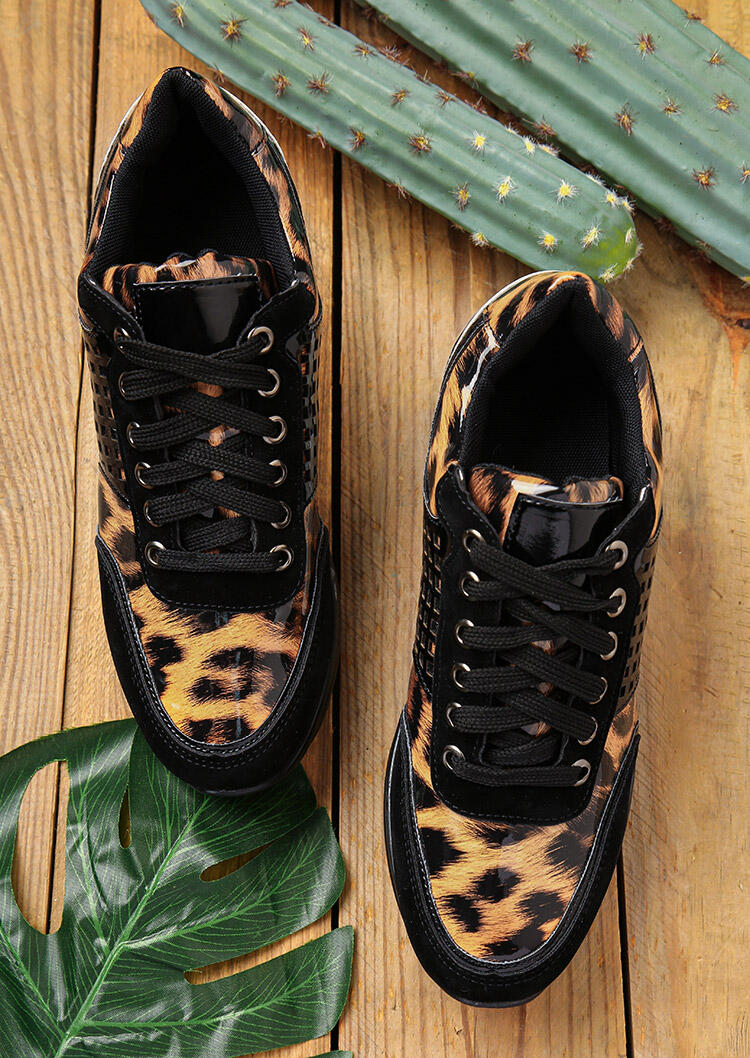 Sneakers Leopard Lace Up Round Toe Wedge Sneakers in Leopard. Size: 37,38,39,40,41 фото