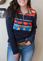 Aztec Geometric Zipper Sweatshirt