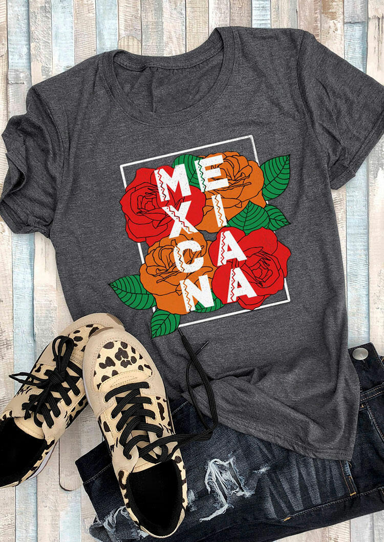 Tees T-shirts Mexicana Flower O-Neck T-Shirt Tee in Dark Grey. Size: S,M,L,XL фото