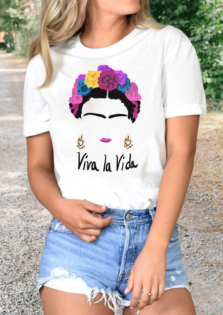 Frida Kahlo Viva La Vida Flower T-Shirt Tee - White фото