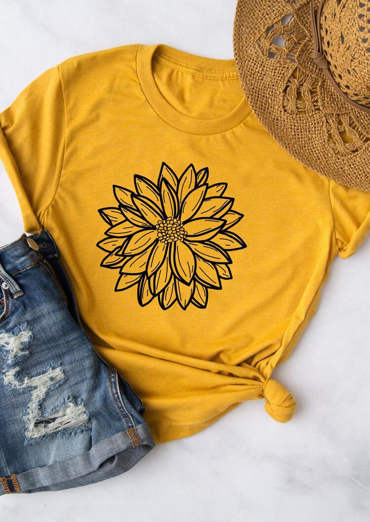 Dahlia Floral O-Neck T-Shirt Tee - Yellow фото
