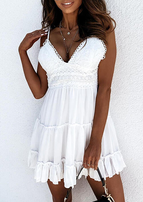 Lace Ruffled Tie Mini Dress without Necklace - White фото