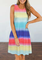 Gradient Rainbow Striped O-Neck Mini Dress