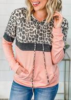 Color Block Leopard Splicing Kangaroo Pocket Hoodie - Pink