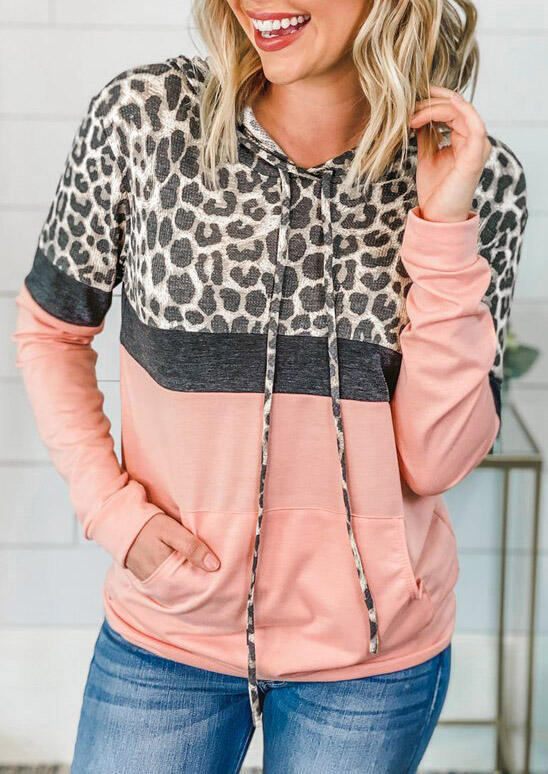 Color Block Leopard Splicing Kangaroo Pocket Hoodie - Pink