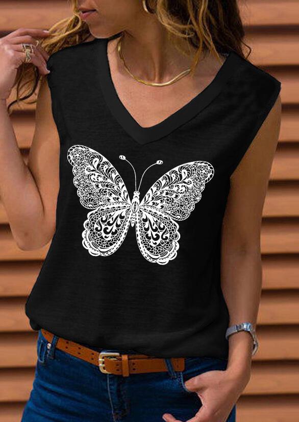Mandala Butterfly O-Neck Tank without Necklace - Black фото