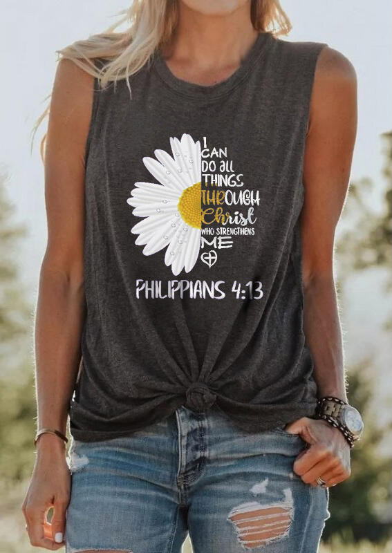 I Can Do All Things Through Christ Daisy Tank - Dark Grey фото