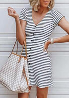 Striped Splicing Button V-Neck Mini Dress