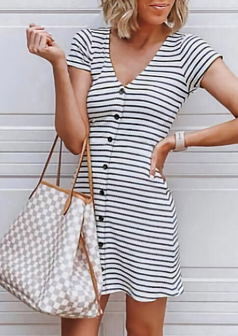 Mini Dresses Striped Splicing Button V-Neck Mini Dress in Stripe. Size: S,M,L,XL фото