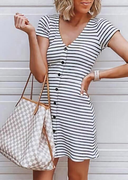 Striped Splicing Button V-Neck Mini Dress фото