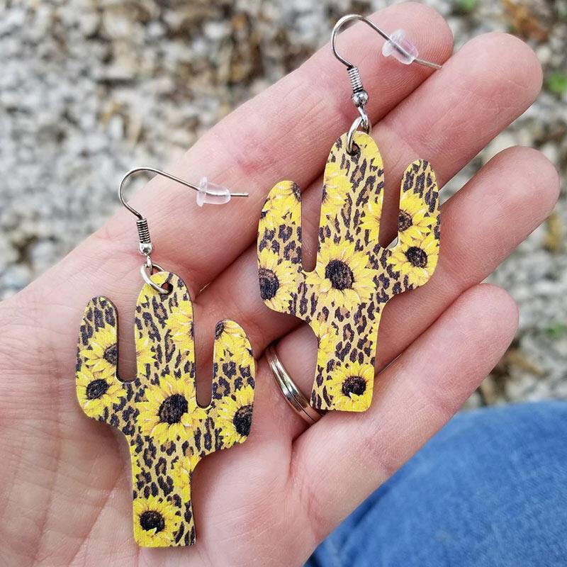 Leopard Sunflower Cactus Wooden Pendant Earrings фото