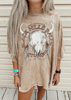 Steer Skull Feather T-Shir