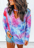 Tie Dye Cut Out Blouse