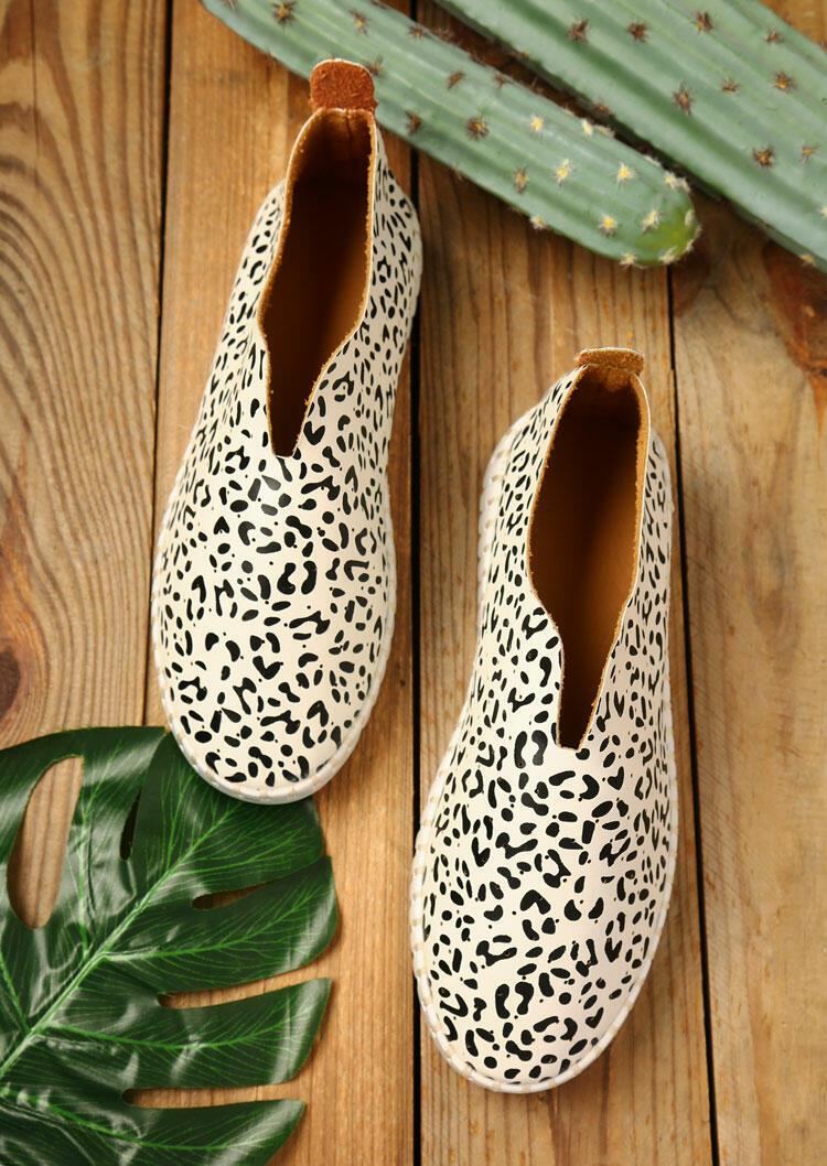 Leopard Round Toe Slip On Flat Sneakers - White фото