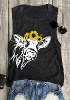 Sunflower Cow O-Neck Tank
