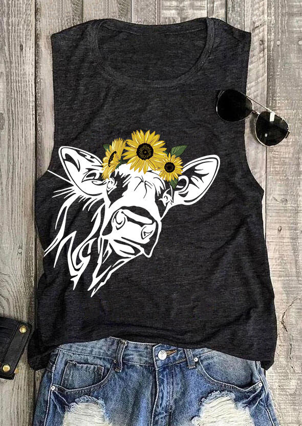 Tank Tops Sunflower Cow O-Neck Tank in Dark Grey. Size: S,M,L,XL фото