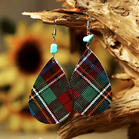 Plaid Irregular Turquoise Leather Earrings
