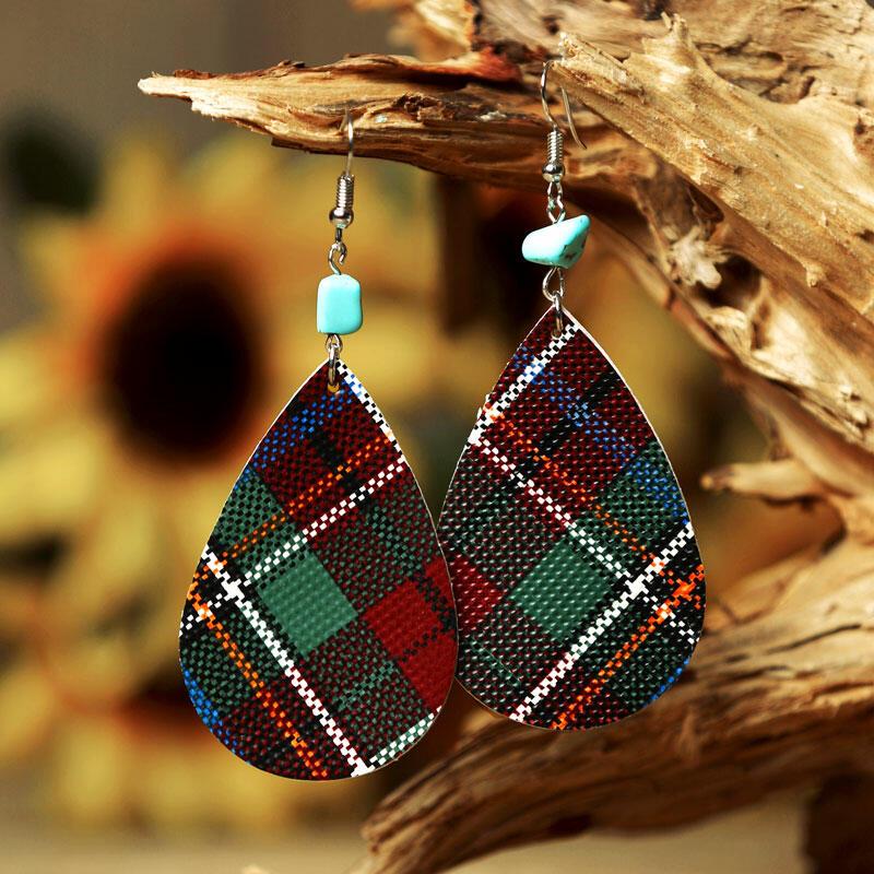 Plaid Irregular Turquoise Leather Earrings фото