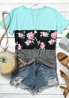 Floral Color Block Splicing T-Shirt
