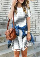 Striped Tassel Splicing Irregular Mini Dress
