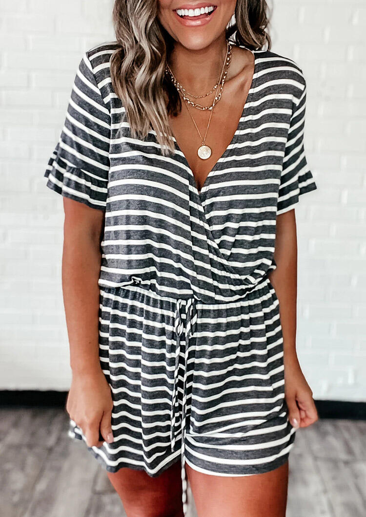 Striped Splicing Ruffled Drawstring Romper without Necklace фото