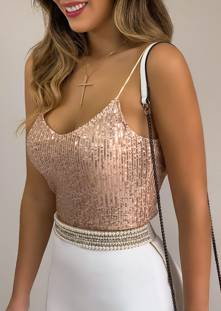 Tank Tops Sequined Sleeveless Camisole without Necklace in Gold. Size: S,M,L,XL фото