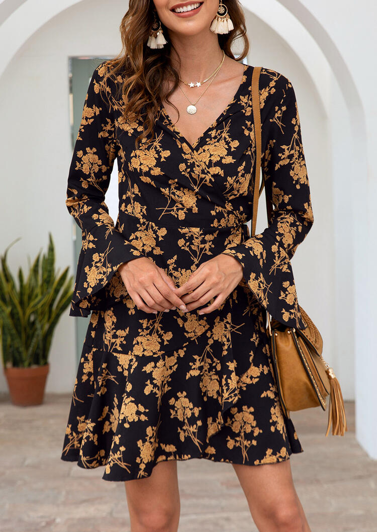 Floral Long Sleeve Mini Dress without Necklace - Black фото